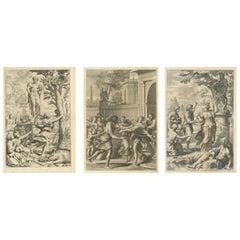 Set of 3 Antique Prints of Mythological Scenes on Lemon Varieties by Ferrari