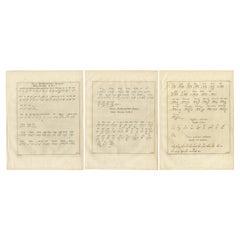 Set of 3 Antique Prints of Various Alphabets by Van Schley 'c.1750'