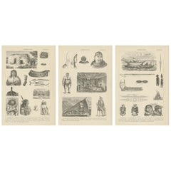 Set of 3 Antique Prints of Various Figures and Objects of Canada and Alaska