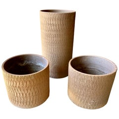 Set of 3 Architectural Pottery Planters by Gainey Ceramics