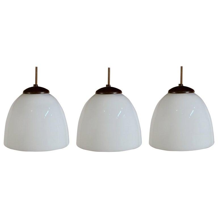 Set of 3 Art Deco Opaline Glass Pendants For Sale