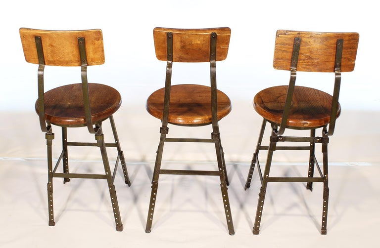 Set of 3 Authentic Vintage Industrial Factory Stools For Sale 5