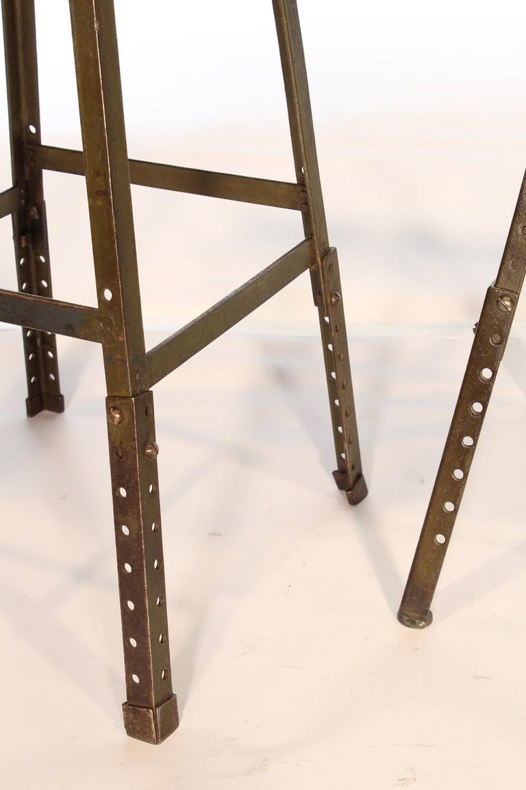 Set of 3 Authentic Vintage Industrial Factory Stools For Sale 7