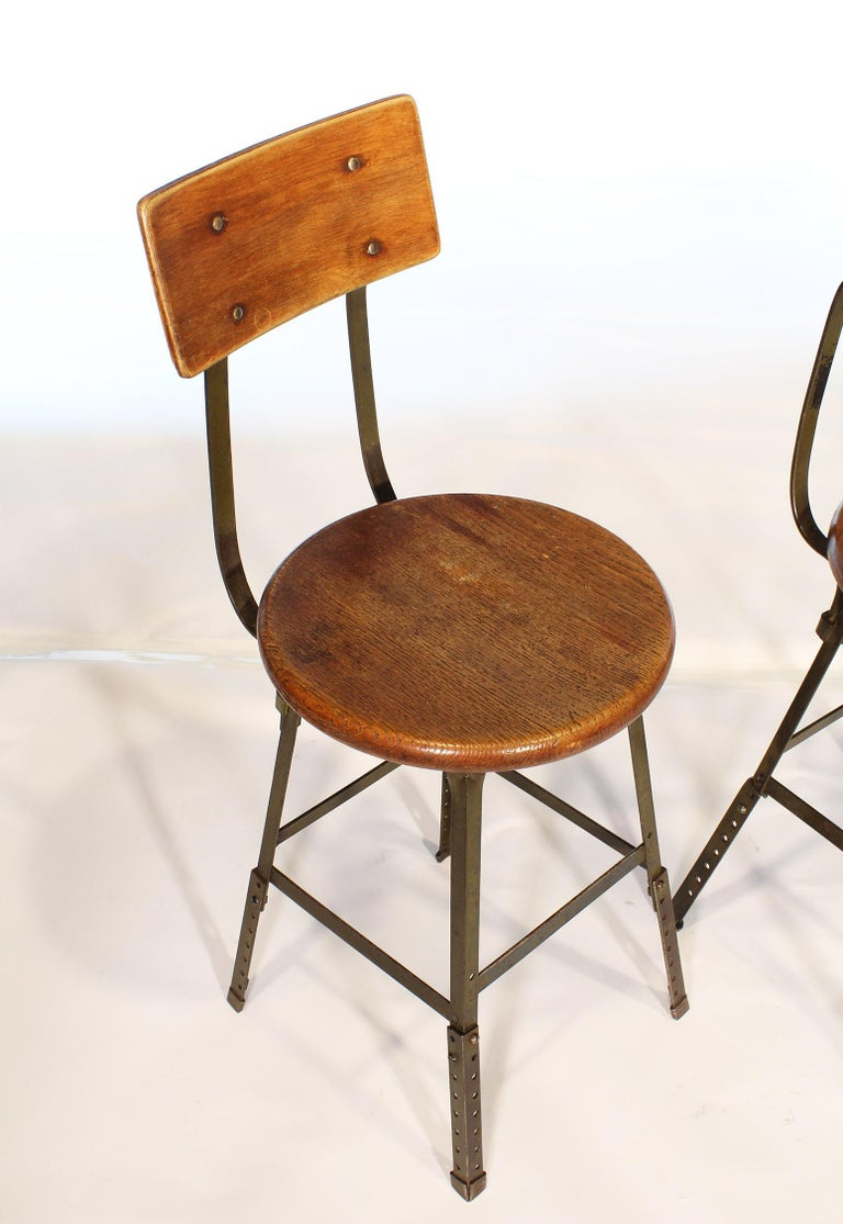 20th Century Set of 3 Authentic Vintage Industrial Factory Stools For Sale