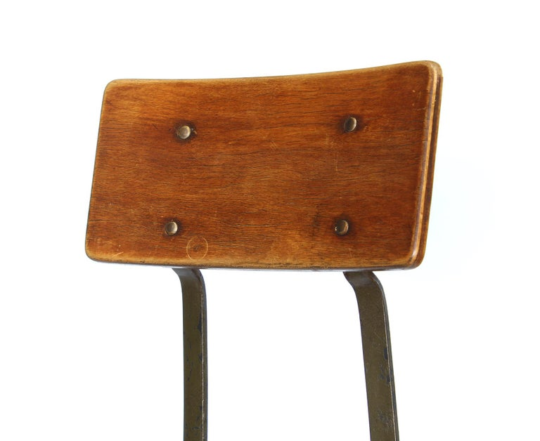 Set of 3 Authentic Vintage Industrial Factory Stools For Sale 3