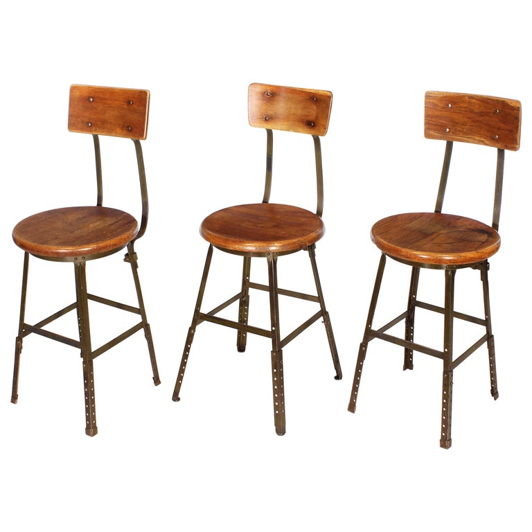 Set of 3 Authentic Vintage Industrial Factory Stools For Sale