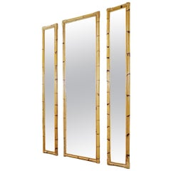 Set of 3 Bamboo Mirrors, Italy