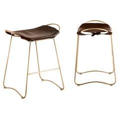 Set of 3 Bar Stool, Aged Brass Steel & Dark Brown Leather, Modern Style