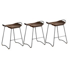 Set of 3 Bar Stool, Black Smoke Steel and Dark Brown Leather, Contemporary Style