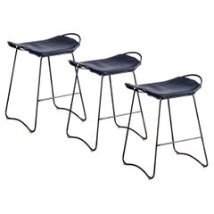 Set of 3 Bar Stool, Black Smoke Steel and Navy Blue Leather, Contemporary Style