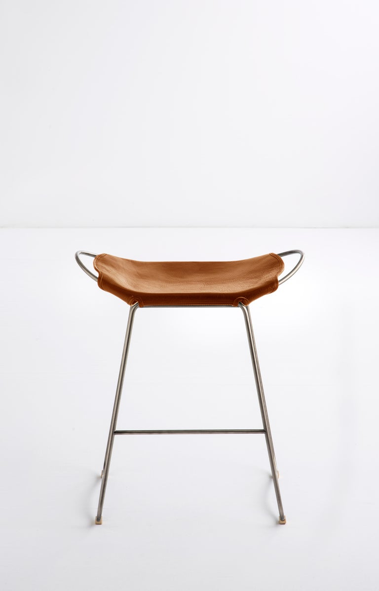 Organic Modern Set of 3 Bar Stool, Old Silver Steel and Natural Tobacco Leather, Modern Style For Sale