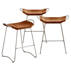 Set of 3 Bar Stool, Old Silver Steel and Natural Tobacco Leather, Modern Style