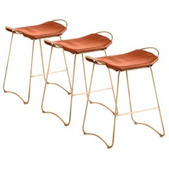 Set of 3 Barstool Brass Steel & Tobacco Leather Contemporary Style