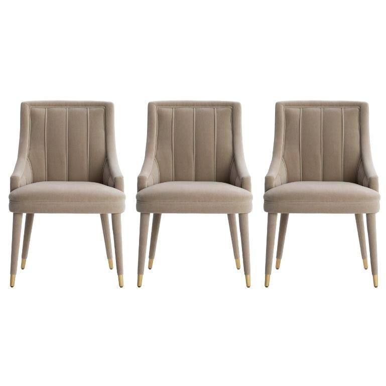 Set of 3 Beige Cordoba Dining Chair with Brushed Brass Tips