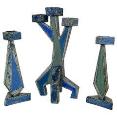 Set of 3 Belgian Ceramic Geometric Sculptural Candlesticks