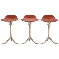 Set of 3 Bespoke Counter-Height Swivel Stool, Leather and Brass by P. Tendercool