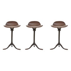 Set of 3 Bespoke, Counter-Height Swivel Stools, Leather, Brass by P. Tendercool
