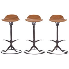 Set of 3 Bespoke High Bar Leather Stools in Marron Glacé by P.Tendercool