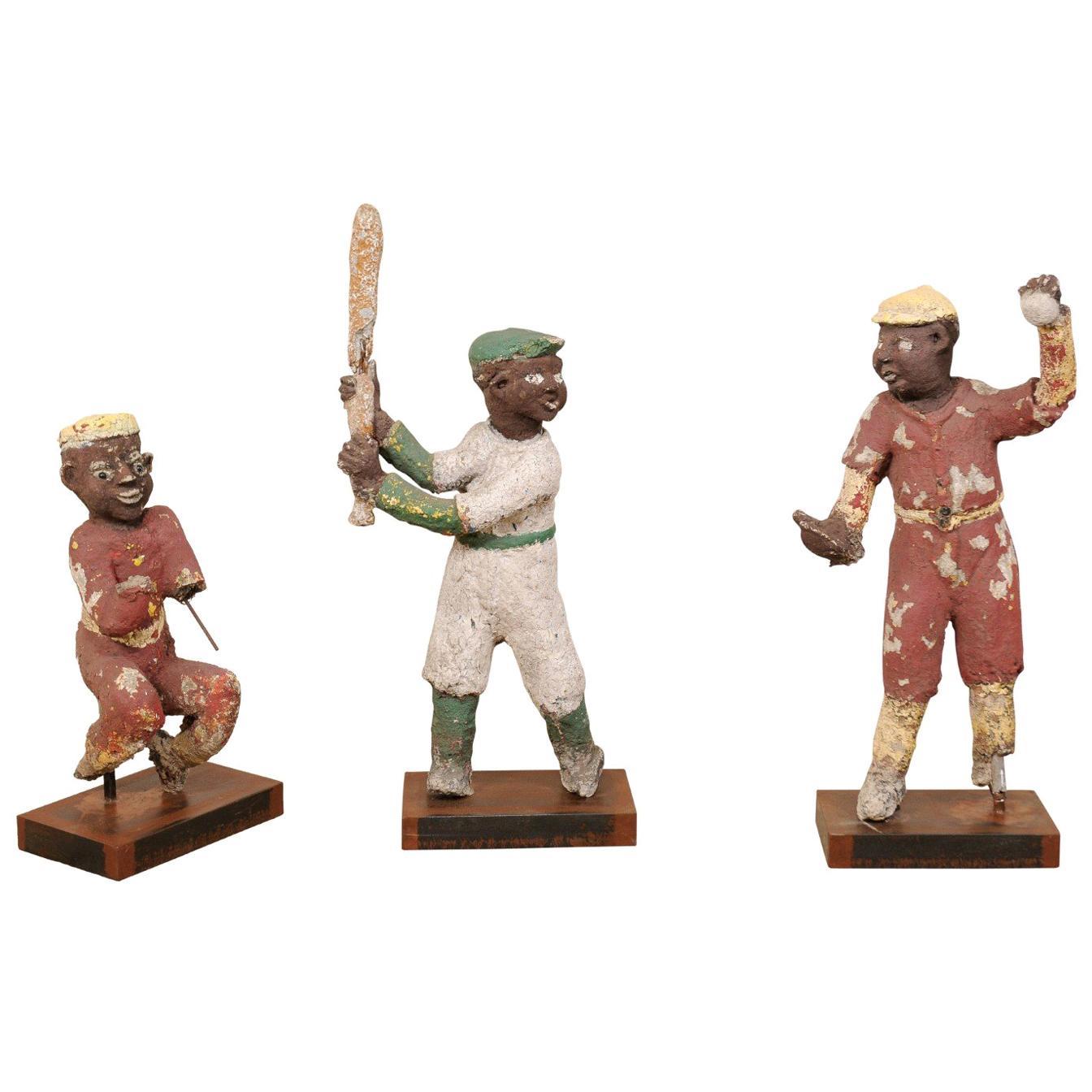 A Set of Black Americana Baseball Memorabilia Folk Art Figures, Circa 1930s-40s