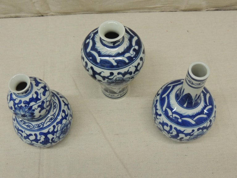 Chinese Export Set of '3' Blue and White Decorative Vases