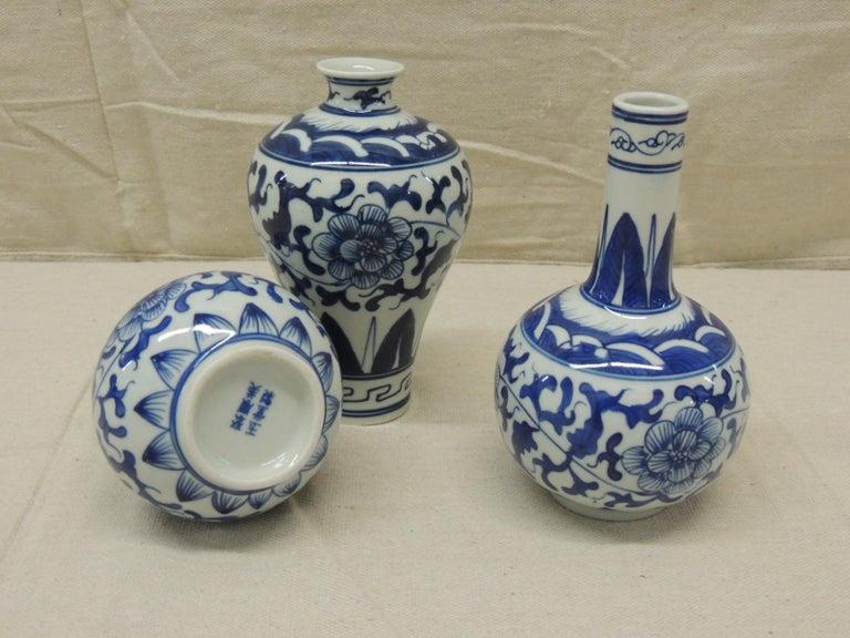 Japanese Set of '3' Blue and White Decorative Vases