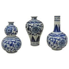 Set of '3' Blue and White Decorative Vases