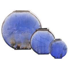 Set of 3 Blue Vases