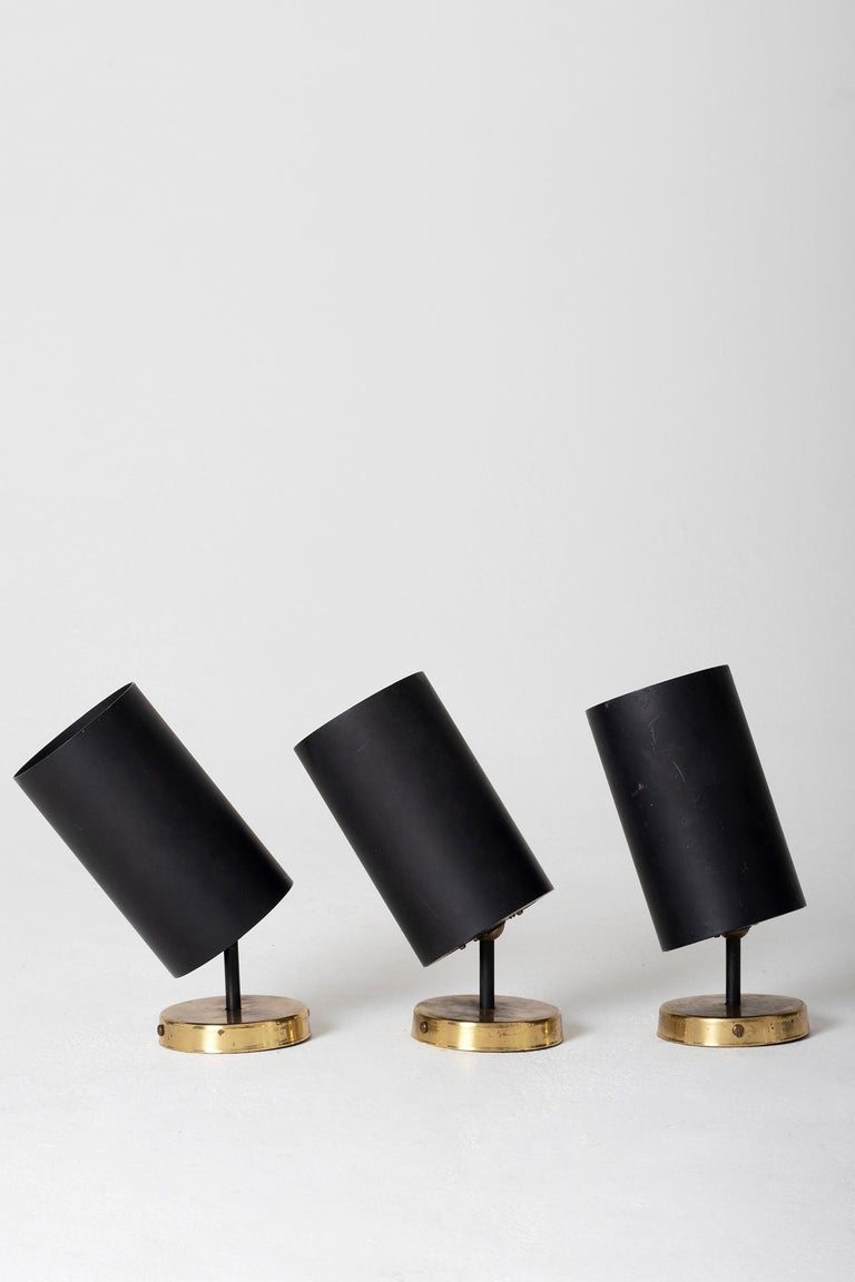 Mid-Century Modern Set of 3 Brass and Black Spot Lights 'or Wall lights' by Parscot Editions For Sale