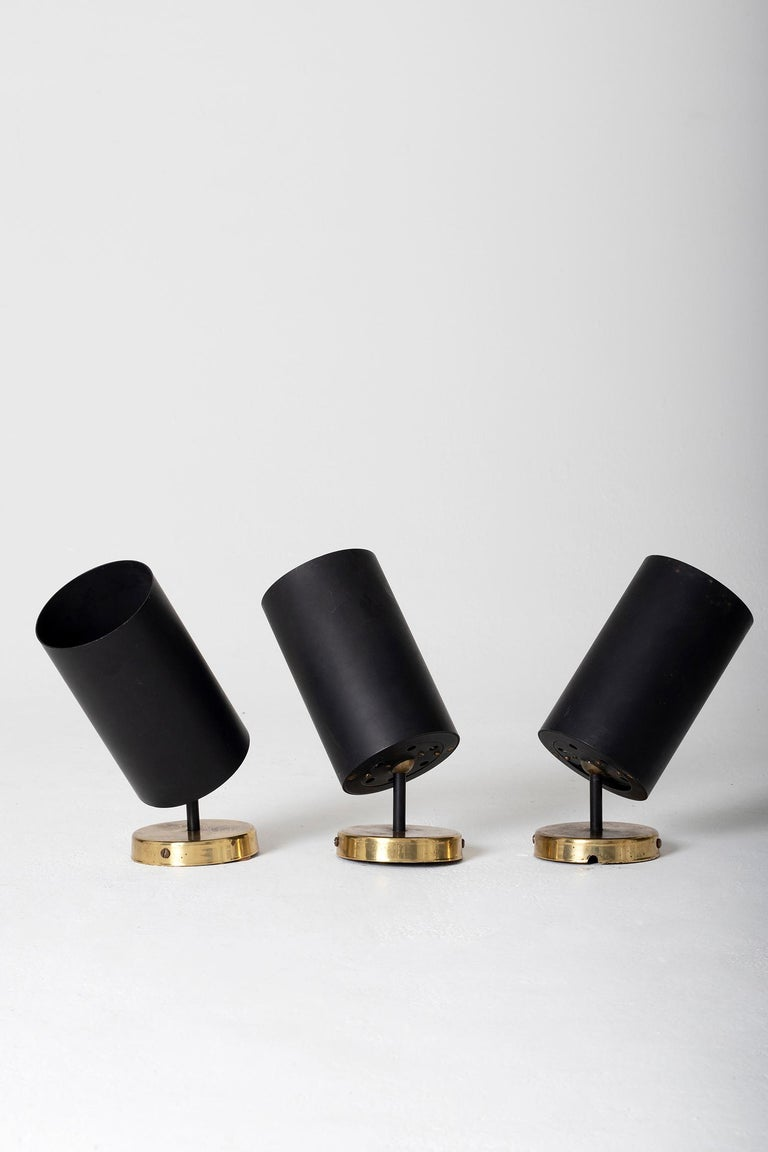 French Set of 3 Brass and Black Spot Lights 'or Wall lights' by Parscot Editions For Sale