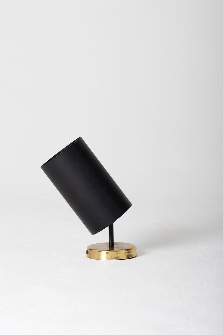 Set of 3 Brass and Black Spot Lights 'or Wall lights' by Parscot Editions In Good Condition For Sale In London, GB