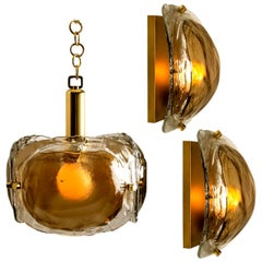 Set of 3 Brass and Brown Glass Blown Murano Glass Light Fixtures