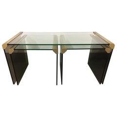 Set of 3 Brass and Smoked Glass by Galotti & Radice