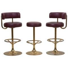 Set of 3 Brass Börje Johansson Bar Stools by Johansson Design, Signed