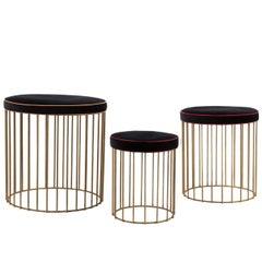 Set of Three Brass Cage Stools