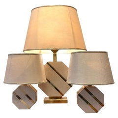 Set of 3 Brass & Lacquered Wood Octogonal Base Table Lamps, ca. 1970s
