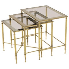 Set of 3 Brass Mirrored Border Glass Tops Nesting Stacking Tables