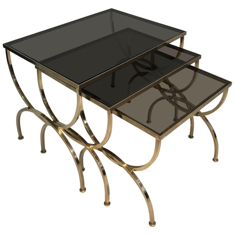 Set of 3 Brass Nesting Tables  For Sale