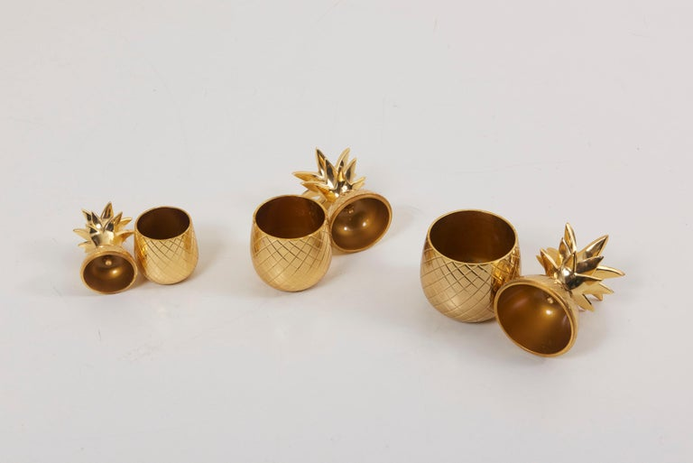 French Set of 3 Brass Pineapple Ice Buckets or Candy Boxes For Sale