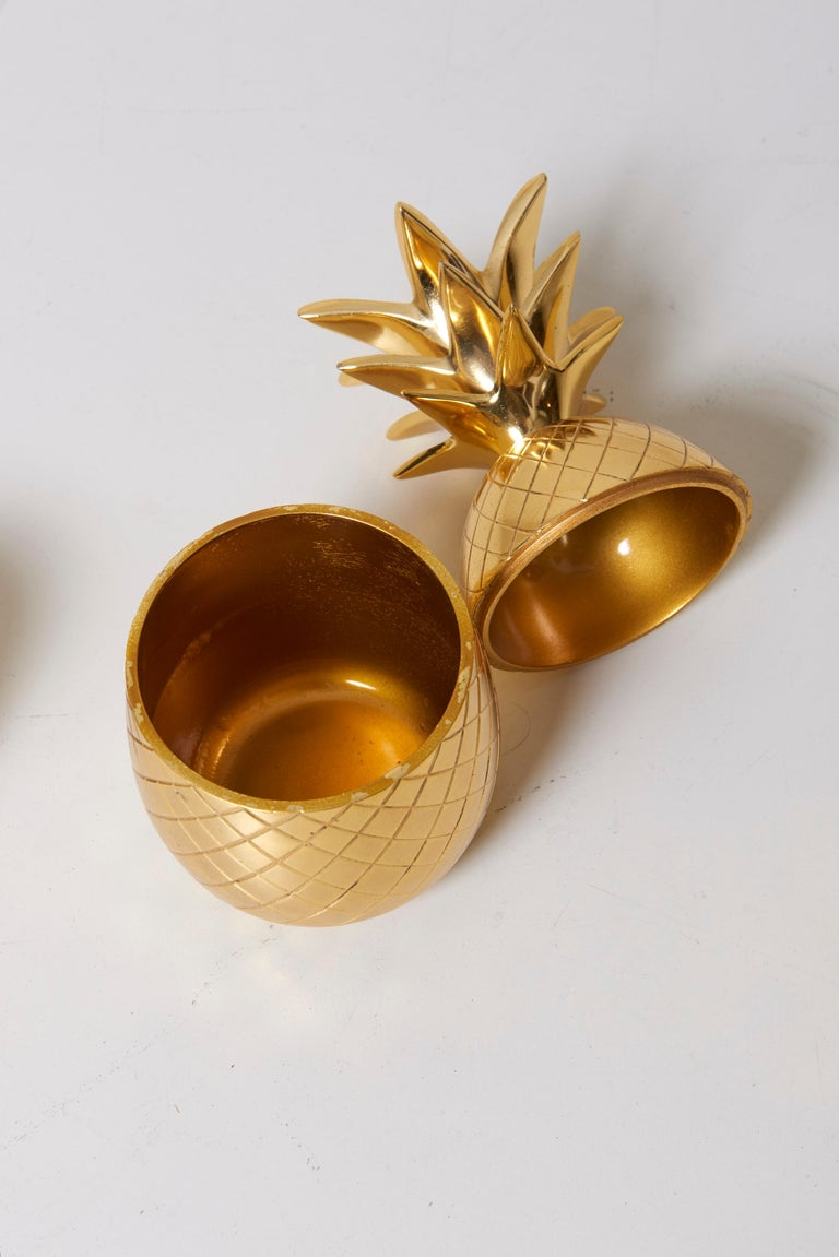 Late 20th Century Set of 3 Brass Pineapple Ice Buckets or Candy Boxes For Sale