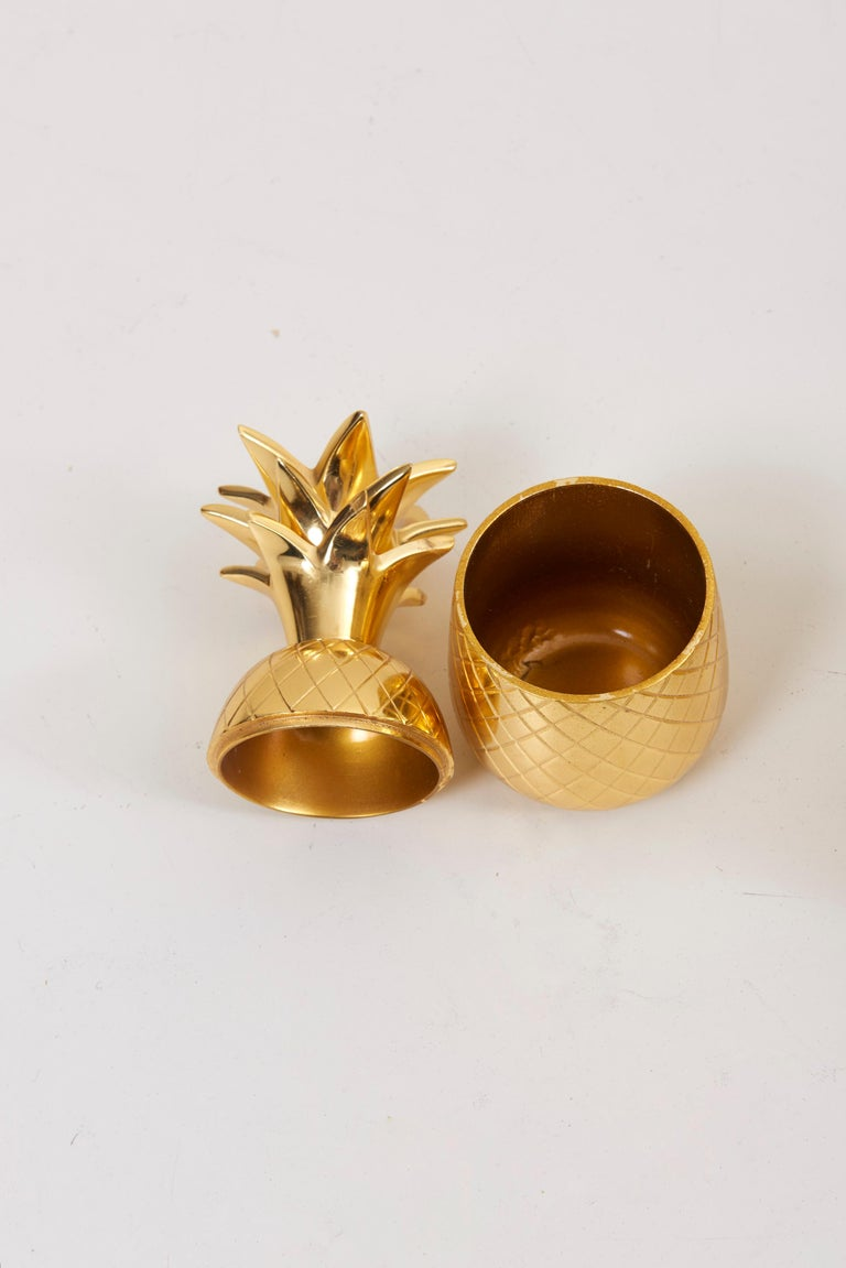 Set of 3 Brass Pineapple Ice Buckets or Candy Boxes For Sale 1