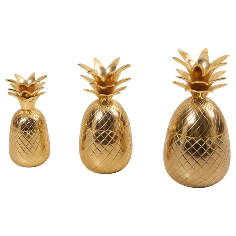 Set of 3 Brass Pineapple Ice Buckets or Candy Boxes For Sale