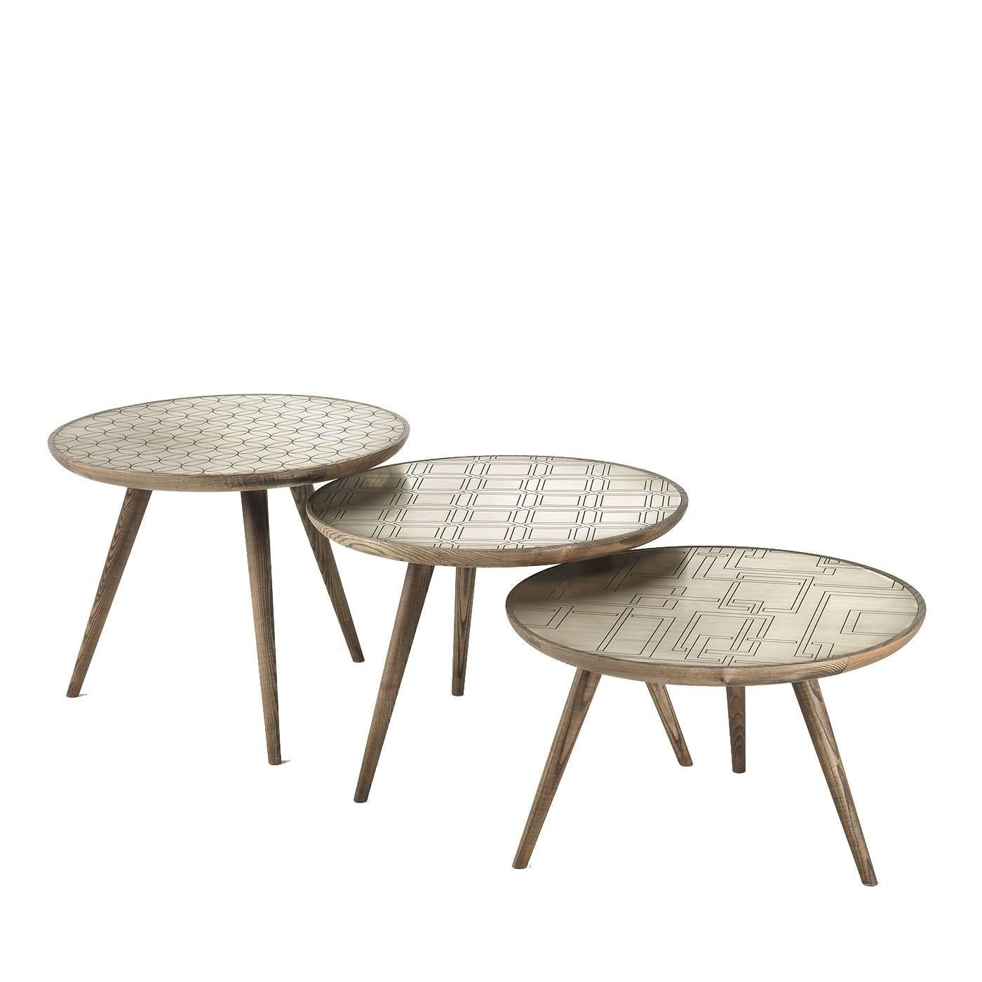 Set of Three Brass Side Tables