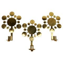 "Set of 3 Brass Wall Candlesticks ""Sunburst"" Holmström, Arvika, Sweden, 1960s"