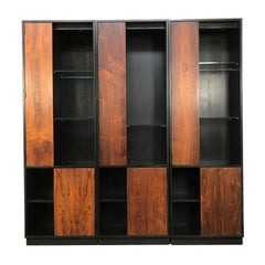 Set of 3 Breakfront Display Cabinets by Harvey Probber with Rosewood Doors