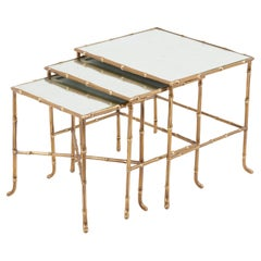 Set of 3 Bronze Bamboo Nesting Tables with Mirrors by Maison Baguès, France