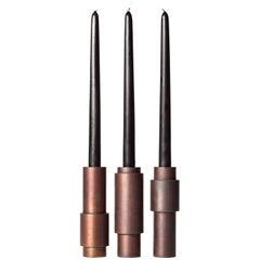 Set of 3 Brown Patina Steel Candlestick by Lukasz Friedrich