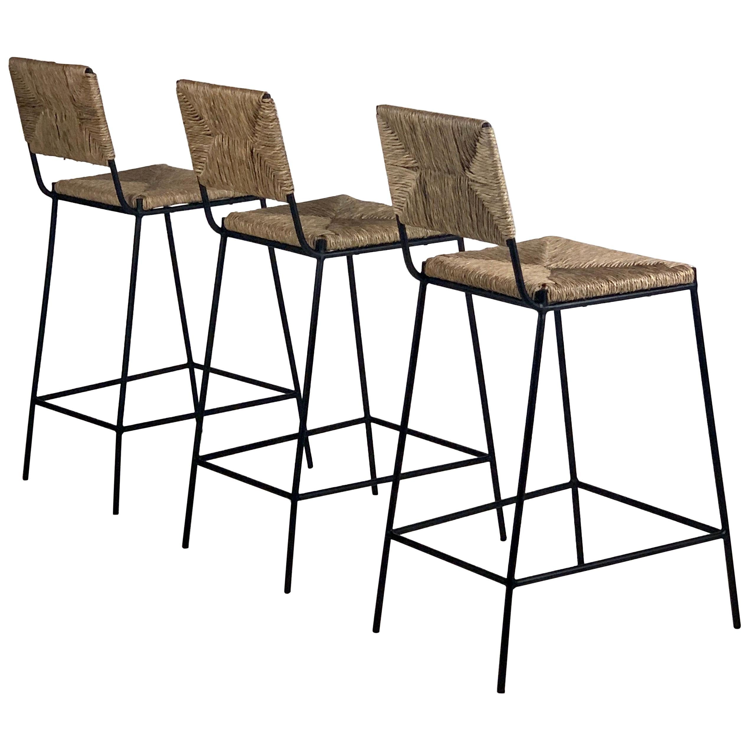 Set of 3 'Campagne' Counter Height Stools by Design Frères