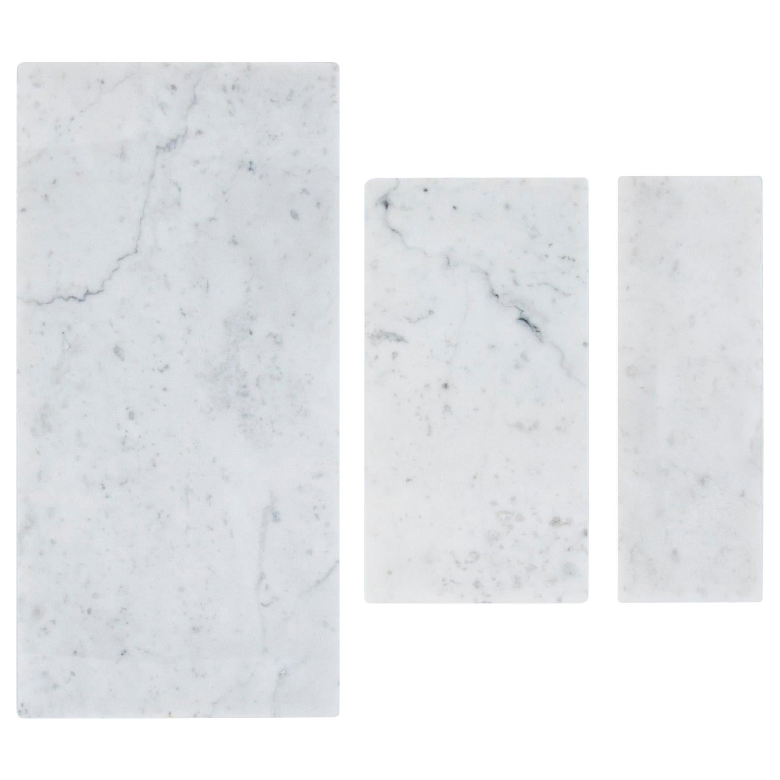 Set of 3 Canapè / Cheese Plates in White Carrara Marble