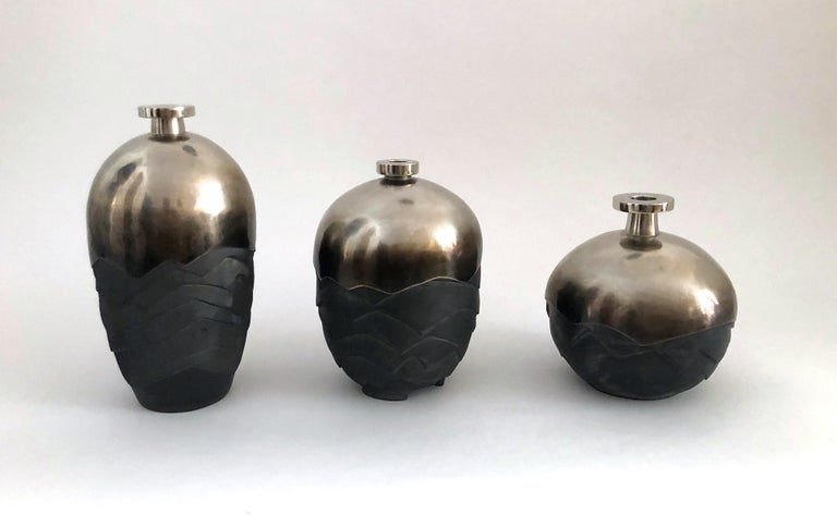 Set of 3 Ceramic and Silver Plated Brass Vases Signed by French Artist Wagenaar In Excellent Condition For Sale In Paris, FR