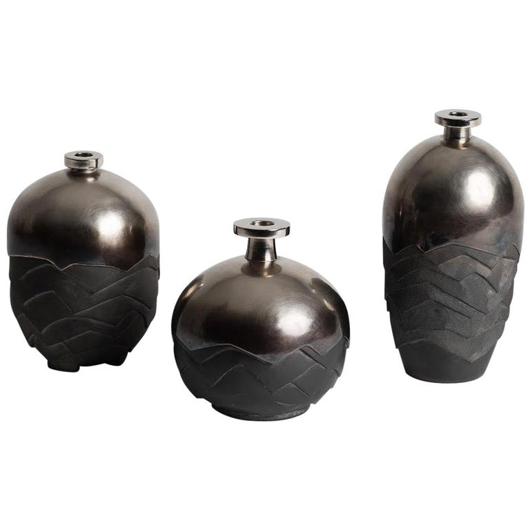 Set of 3 Ceramic and Silver Plated Brass Vases Signed by French Artist Wagenaar For Sale
